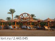 Купить «Утро, пустынный пляж отеля», эксклюзивное фото № 2443045, снято 28 октября 2010 г. (c) Svet / Фотобанк Лори