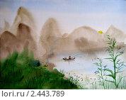 Рыбалка на пруду. Стоковая иллюстрация, иллюстратор Заварзин Олег / Фотобанк Лори