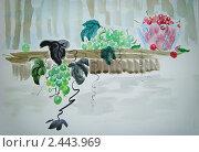 Натюрморт виноград с вишнями. Стоковая иллюстрация, иллюстратор Заварзин Олег / Фотобанк Лори