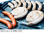 Купить «Свежеприготовленные колбаски на гриле», фото № 2446161, снято 20 апреля 2010 г. (c) Юлия Сайганова / Фотобанк Лори
