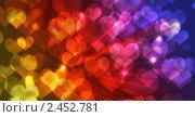 Фон с сердечками и лучами света. Стоковая иллюстрация, иллюстратор Галина Томина / Фотобанк Лори