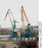 Купить «Портовые краны», фото № 2455237, снято 7 апреля 2011 г. (c) Андрей Ерофеев / Фотобанк Лори