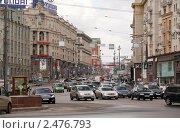 Москва. Тверская улица, вид от Манежной площади, фото № 2476793, снято 16 апреля 2011 г. (c) Андрей Ерофеев / Фотобанк Лори