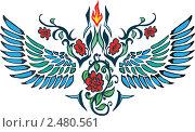 Купить «Рисунок с красными цветами и крыльями», иллюстрация № 2480561 (c) Зданчук Светлана / Фотобанк Лори
