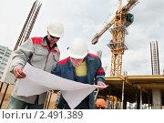Купить «Инженеры-строители на рабочей площадке», фото № 2491389, снято 21 августа 2018 г. (c) Дмитрий Калиновский / Фотобанк Лори