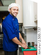 Купить «Шеф-повар режет зелень», фото № 2500737, снято 17 июня 2019 г. (c) Дмитрий Калиновский / Фотобанк Лори
