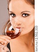 Купить «Девушка пьет вино», фото № 2502333, снято 10 ноября 2010 г. (c) BestPhotoStudio / Фотобанк Лори