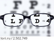 Купить «Очки и таблица для проверки зрения», фото № 2502749, снято 14 апреля 2011 г. (c) Антон Стариков / Фотобанк Лори