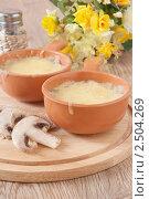 Купить «Жюльен с грибами в кокотницах на столе», фото № 2504269, снято 28 апреля 2011 г. (c) Светлана Зарецкая / Фотобанк Лори