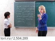 Купить «Учитель и ученик у школьной доски в  начальной школе», фото № 2504289, снято 7 апреля 2011 г. (c) Федор Королевский / Фотобанк Лори