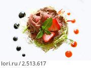 Изысканная закуска из телятины (карпаччио) Стоковое фото, фотограф Ольга Дудина / Фотобанк Лори