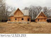 Строительство деревянного рубленого дома и бани. Стоковое фото, фотограф Галина Бурцева / Фотобанк Лори