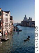 Гондола с гондольером на Гранд  Канале в Венеции. Собор Santa Maria della Salute (2010 год). Стоковое фото, фотограф Victoria Demidova / Фотобанк Лори