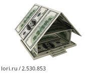 Купить «Модель домика из долларов на белом фоне», иллюстрация № 2530853 (c) Владимир Чернов / Фотобанк Лори