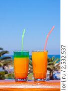Купить «Вкусные коктейли в кафе на пляже, с видом на море», фото № 2532537, снято 8 сентября 2010 г. (c) ElenArt / Фотобанк Лори