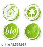 Купить «Набор зеленых экологических значков», иллюстрация № 2534989 (c) Виктория Очеретько / Фотобанк Лори