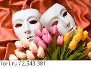 Купить «Белые театральные маски с цветами», фото № 2543381, снято 3 октября 2010 г. (c) Elnur / Фотобанк Лори
