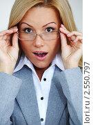 Купить «Деловая женщина в очках», фото № 2550797, снято 9 декабря 2019 г. (c) Иван Михайлов / Фотобанк Лори