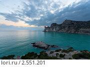 Купить «Закат на скалистом берегу Черного моря», фото № 2551201, снято 16 апреля 2011 г. (c) Nickolay Khoroshkov / Фотобанк Лори