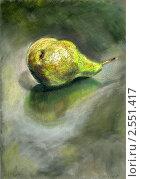 Зеленая груша на черном столе. Стоковая иллюстрация, иллюстратор Сергей Глазков / Фотобанк Лори