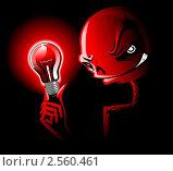 Красная лампа освещает страшное лицо. Стоковая иллюстрация, иллюстратор Николаев Олег / Фотобанк Лори