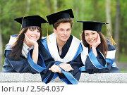 Купить «Три весёлых студента», фото № 2564037, снято 18 июня 2019 г. (c) Дмитрий Калиновский / Фотобанк Лори