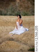 Девушка на природе в полупрозрачной ткани. Стоковое фото, фотограф Ivan Prokopenko / Фотобанк Лори