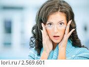 Купить «Портрет удивленной девушки в очках», фото № 2569601, снято 7 сентября 2010 г. (c) BestPhotoStudio / Фотобанк Лори