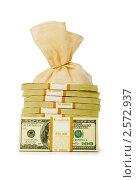 Купить «Пачки долларов с мешком денег на белом фоне», фото № 2572937, снято 26 апреля 2009 г. (c) Elnur / Фотобанк Лори