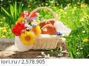 Купить «Летний натюрморт - пирожки с вишней и цветами в корзинке на старом столе в саду в летний день», фото № 2578905, снято 22 мая 2011 г. (c) Светлана Зарецкая / Фотобанк Лори
