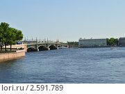 Вид с Кронверкского моста Петербурга (вход на Заячий остров) (2011 год). Стоковое фото, фотограф Юлия Желтенко / Фотобанк Лори