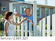Купить «Женщина и мужчина около калитки», фото № 2601321, снято 5 июня 2011 г. (c) Яков Филимонов / Фотобанк Лори