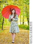 Купить «Девушка гуляет в осеннем парке под зонтом», фото № 2632513, снято 26 сентября 2010 г. (c) Яков Филимонов / Фотобанк Лори