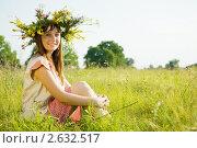 Купить «Девушка в венке из цветов в поле», фото № 2632517, снято 8 июля 2010 г. (c) Яков Филимонов / Фотобанк Лори