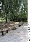 Скамейки для отдыха в Пекинском зоопарке, Китай (2011 год). Стоковое фото, фотограф Шарипова Лилия / Фотобанк Лори