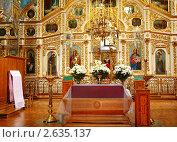 Купить «Пасхальное убранство интерьера православного храма», фото № 2635137, снято 28 апреля 2011 г. (c) Олеся Сарычева / Фотобанк Лори