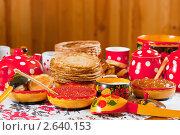 Купить «Блины с икрой и чай», фото № 2640153, снято 6 марта 2011 г. (c) Яков Филимонов / Фотобанк Лори