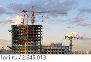 Башенный кран на стройке здания. Редакционное фото, фотограф Дмитрий Куш / Фотобанк Лори