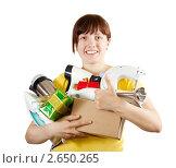 Купить «Женщина с бытовой техникой», фото № 2650265, снято 17 марта 2011 г. (c) Яков Филимонов / Фотобанк Лори