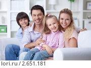 Купить «Молодая семья с двумя детьми», фото № 2651181, снято 12 мая 2011 г. (c) Raev Denis / Фотобанк Лори