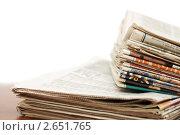 Купить «Стопка газет», фото № 2651765, снято 4 декабря 2010 г. (c) Воронин Владимир Сергеевич / Фотобанк Лори
