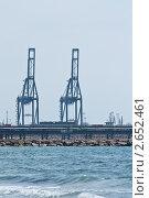 Портовые краны в грузовом терминале. Стоковое фото, фотограф Иван Губанов / Фотобанк Лори