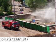 Купить «Пожар на стройке», фото № 2661817, снято 13 июня 2008 г. (c) ElenArt / Фотобанк Лори