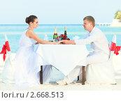 Купить «Жених и невеста за свадебным столиком на пляже», фото № 2668513, снято 23 апреля 2011 г. (c) Ольга Хорошунова / Фотобанк Лори