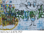 Рисунок на кирпичной стене гаража (2011 год). Редакционное фото, фотограф Кашкарева Светлана / Фотобанк Лори