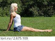 Купить «Девушка выполняет гимнастическое упражнения на траве», фото № 2675109, снято 21 июля 2011 г. (c) Михаил Иванов / Фотобанк Лори