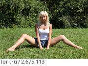 Купить «Девушка выполняет гимнастическое упражнения на траве», фото № 2675113, снято 21 июля 2011 г. (c) Михаил Иванов / Фотобанк Лори
