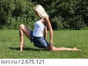 Купить «Девушка выполняет гимнастическое упражнения на траве», фото № 2675121, снято 21 июля 2011 г. (c) Михаил Иванов / Фотобанк Лори