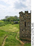 Купить «Фрагмент каменной башни, поляна и навес», фото № 2675345, снято 14 мая 2011 г. (c) Борис Панасюк / Фотобанк Лори
