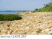Купить «Каменистый пляж на берегу Азовского моря», фото № 2675357, снято 1 июля 2011 г. (c) Борис Панасюк / Фотобанк Лори